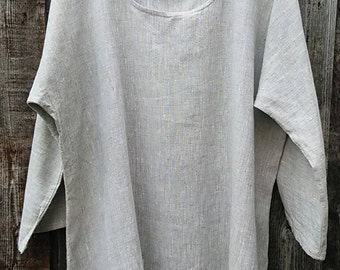 sale LINEN TOP plus sized women linen clothing Dolman style in oatmeal color summer relax loose fit handmade in Texas USA designs in linen.