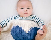 Heart Baby Blanket Cream with Royal Blue Heart Hand Knit for Bassinet, Stroller or Car Seat