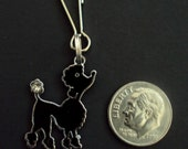 New Black Enamel Silver Plated Alloy Poodle Dog Puppy Charm Zipper Pull Clip On Charm Craft Charm Jewelry Charm Scrapbooking