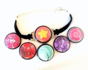 Universe Bracelet // Magnetic Bracelet // Six Bracelets In One // Garnet, Amethyst, Pearl, Steven, Rose Quartz & Rose's Shield