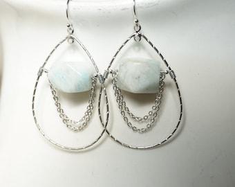 Amazonite Teardrop Earrings, Amazonite Nugget Earrings, Chain Earrings