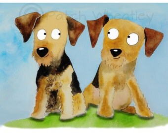 Airedale Terrier Dogs  Art Print #88