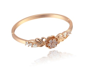 Gladiolus Flower Bangle Side Clasp Bracelet Cubic Zirconia Crystal Gold Filled Jewelry Gold Plated