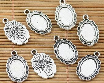 32pcs tibetan silver plated oval 8*10mm cabochon settings EF1922