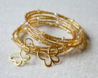 Gold Butterfly Memory wire, Bracelet Seed bead wrap, gold cuff, delicate bracelet, Childhood cancer awareness