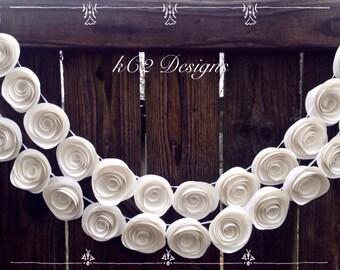 Paper Flower Garland.  White wedding garland. Wedding garland. Wedding centerpiece. Paper garland. Paper flowers. Bridal shower decor.