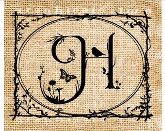 Letter H Any Letter Choice Instant graphic digital download image transfer for iron on fabric burlap decoupage paper pillow tote No gt266