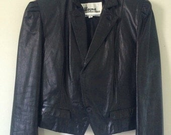 GOODBYE SUMMER SALE Vtg 80's 90's Wilsons Fitted Black Leather Moto Motorcycle Jacket (12)