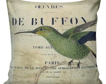 Pillow Cover Spring Throw Pillow Toss Pillow Vintage Hummingbird, Cotton Front, Burlap or Cotton Back #EHD0028