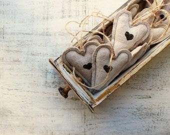 Rustic wedding favors heart ornaments Valentines day decor, Valentine gift bridal shower off white black monochrome homespun hand woven