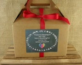 Personalized Wedding Kid's Activity Box Labels - Chalk Heart & Laurel Design - Choice of 8 Colors