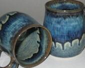 Pottery Mug, Large 16 oz in Blue Lagoon, Wheel Thrown, Microwave Dishwasher Safe