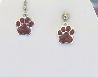 INVENTORY REDUCTION Sale Maroon Paw Earrings.  SIU  Southern Illinois University  Large maroon paw print.  .  Choice wires or posts  Mpe580