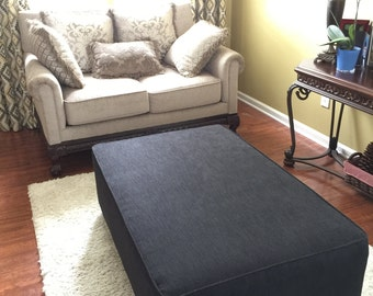 Upholstered oversized Ottoman, coffee table, Made to Order with your fabric