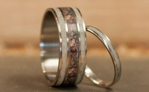 mens wedding band matching set camo elk antler rings womens