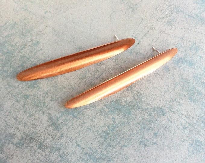 Copper stud earrings - Long stud earrings - leaf shape earrings - minimal jewellery - copper jewelry - contemporary jewelry - gift for her