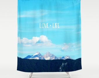 Shower Curtain - Mountains, PNW, Blue, Landscape - Nature Photograpy by RDelean Designs