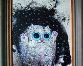 "Framed Art Print ""Winter Kirry Cat"" 8.5 by 11 inch"