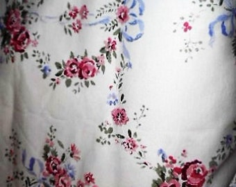 5-yards vintage flowered soft cotton fabric suitable for clothes or for crafts and furnishings