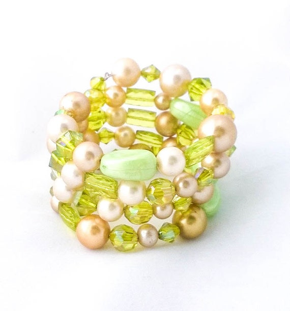 Green and Gold Beaded wrap bracelet with Vintage Faux Pearls