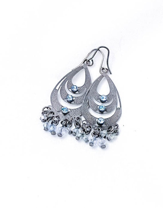 Vintage Dark Pewter Silver Filigree Blue Rhinestone Chandelier Boho Earrings