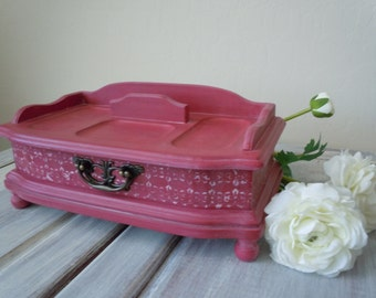 FALL SALE Vintage Red Jewelry Box. Jewelry Valet. Annie Sloan's Emperor Silk. Bedside Jewelry Organizer.