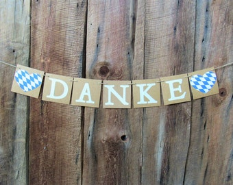 Danke heart banner- Bavarian flag hearts - Oktoberfest -thank you banner- photo prop- wedding decor- kraft, cream blue  white - IATY021