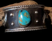 """Men's/Women's Navajo Blackened Solid Sterling Silver & Bisbee Turquoise Cuff Bracelet, Size 7"""".  Free Shipping."""