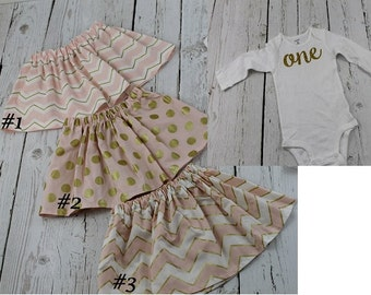 1st Birthday Girl Outfit Baby Girl 1st Birthday Outfit Gold Glitter Ones Long Sleeved Pink Gold Polka Dot Skirt Girls 2nd Birthday Outfit
