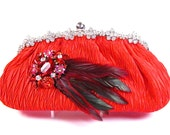SALE SALE ~ Bridal Clutch, Red Satin Rhinestone Bridal Clutch, Red Wedding Purse, Red Evening Clutch