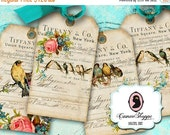 75% OFF SALE ENCHANTED Birds Digital Collage Sheets Digital Hang Tags Tiffany Vintage Birds Digital Download