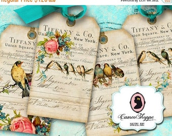 75% OFF SALE ENCHANTED Birds Digital Collage Sheets Digital Hang Tags Tiffany Vintage Birds ...