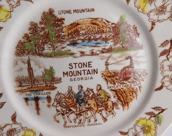 Georgia - Stone Mountain - Souvenir Plate -  Circa 1950s Ornate Gold Trim Historic Plate - Shabby Chic
