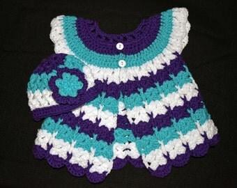 Little girls sweater dress and beanie