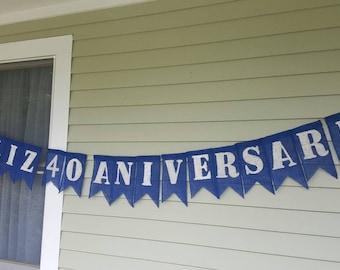 Feliz 40 aniversario  burlap banner