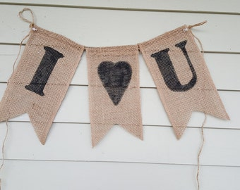 I love you burlap banner