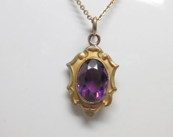 Antique Victorian Amethyst Gold Filled Pendant Necklace                 Victorian Era   Amethyst
