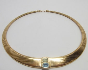 Vintage Christian Dior Choker Collar Classic Necklace With Aquamarine and Peridot Stone Accents Gold Plated
