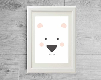 Illustration print polar bear face - Kid's room wall art - Nursery art - Art print - Children baby furniture - Bear print - Bear poster