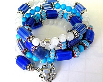 Trade bead and gemstone memory wire bracelet, Bohemian,  Yoga jewelry, Afrocentric.  Cobalt and White.