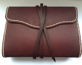 Handmade Leather Journal, Diary, Notebook with White Stitching