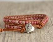 Double wrap bracelet. Pink boho chic jewelry