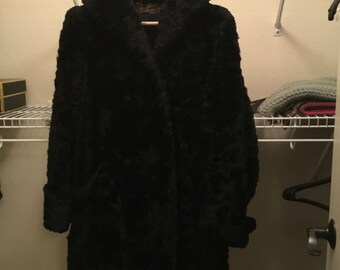 Black Sheep Fur Coat, Vintage 1950s, Made in Finland by Lounals-Suomen Turkis