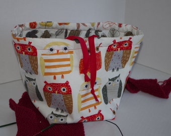Owls and Leaves Reversible Small Sized Project Bag