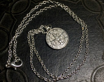 Tiny Silver Colored Saint Benedict Medallion Excorcism Talisman Necklace Anti Human Posession