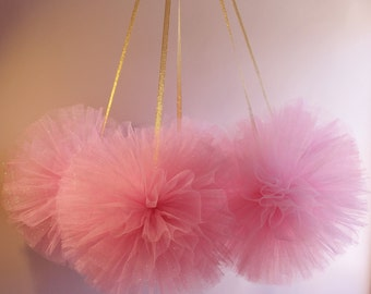 Glitter Tulle Pom, Babys First Birthday, Girl Nursery Decor, Wedding Decor, Shower Decor, Birthday Decor, Baptism Decor, Baby Shower Decorr