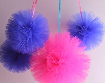 Tulle Pom Pom Set, Hand Sewn and Woven  Hanging Birthday Decorations, Girls Nursery Decorations, Shower Decorations, Wedding Decor