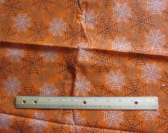 Orange Halloween Glitter Spiderweb Cotton Fabric by the Yard