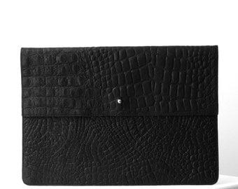 Laptop sleeve BLACK crocodile print leather