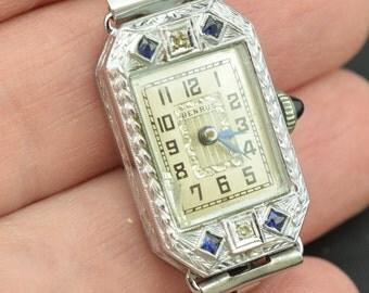 14 K Karat Solid Gold Art Deco Diamond Sapphire Wrist Watch Ladies Mechanical Wind Up Benrus ~ Lot 231